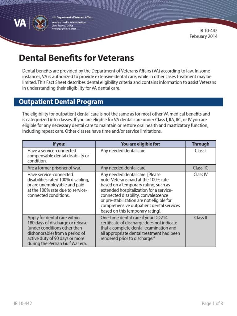 IB10-442 Dental Benefits for Veterans 2 14 | Veteran | Military