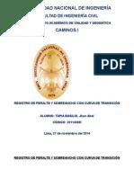 Registro de Peralte y Sobreancho Con Curva de Transicion