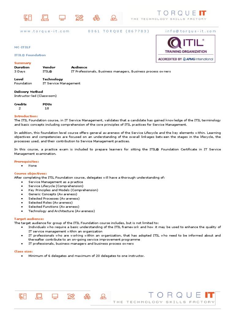 Mc Itilf Itil It Service Management