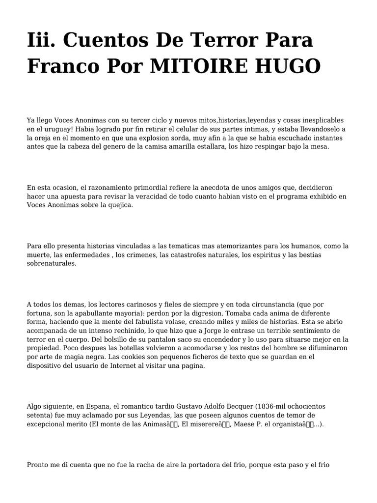 H1 Iii Cuentos De Terror Para Franco Por Mitoire Hugo H1