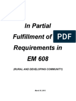 In Partial Fulfillment of the Requirements in EM 608