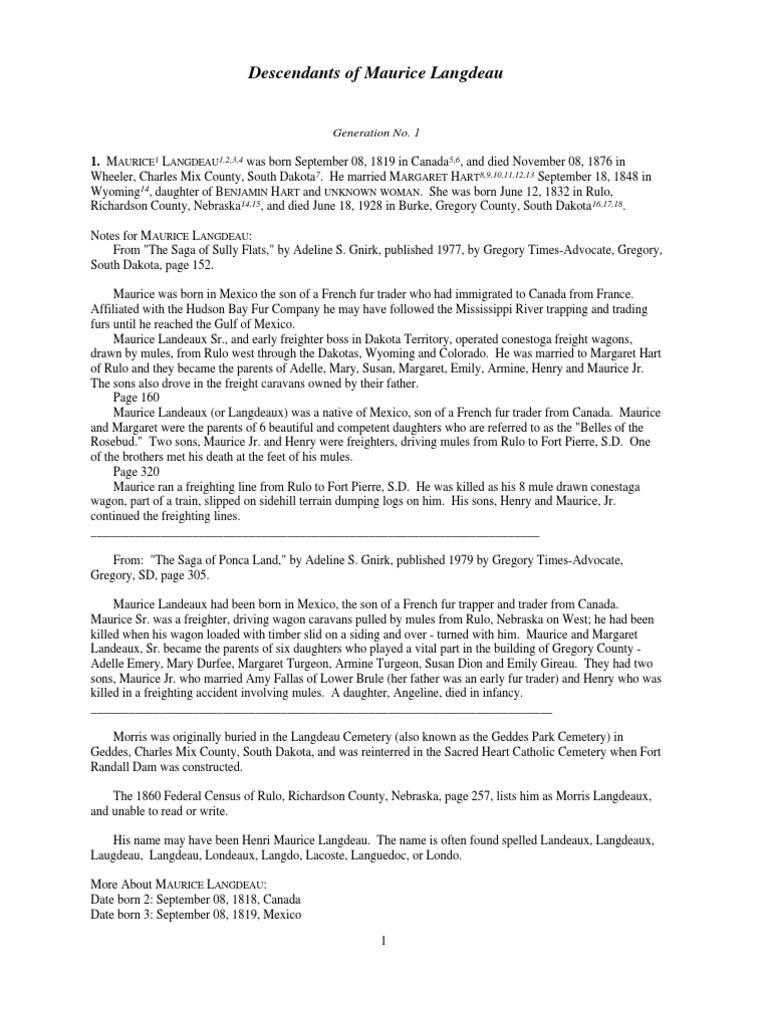 Langdeau Family Tree South Dakota Indian Reservation