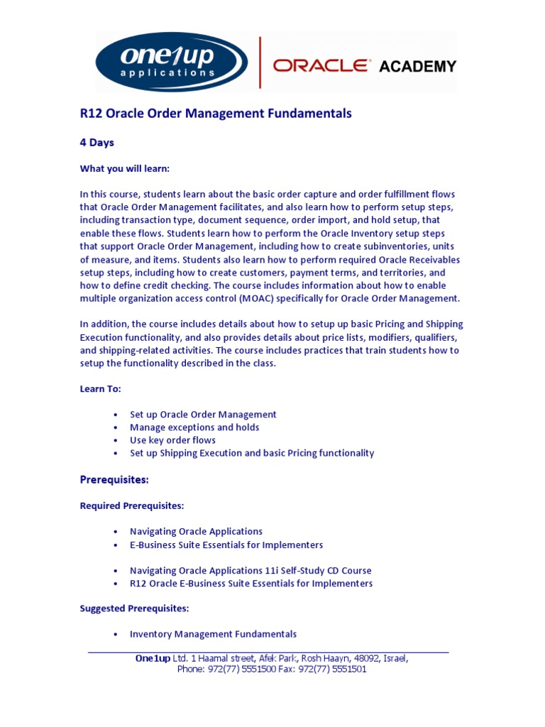 R12 Oracle Order Management Fundamentals | Inventory
