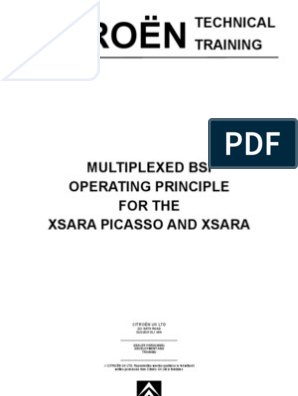 Xsara And Xsara Picasso BSI Operating Principles | Multiplexing | Switch