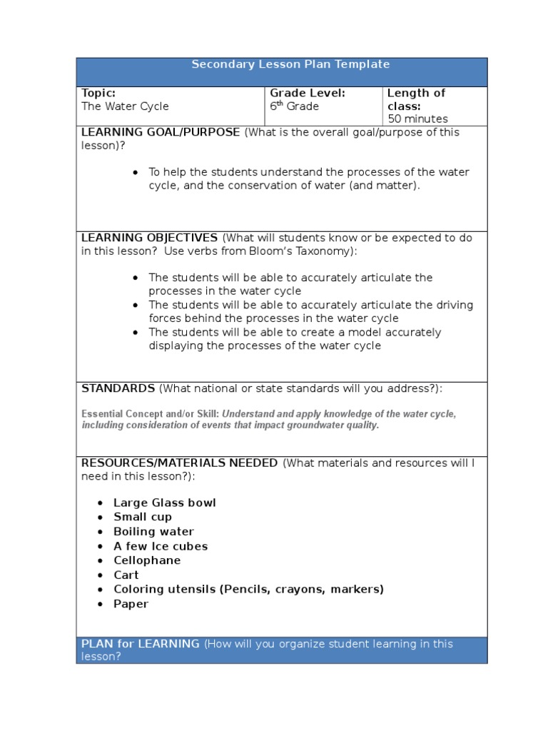 Water Cycle Lesson Plan Learning Styles Lesson Plan - Learning cycle lesson plan template