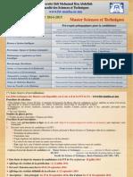 Appel à Candidature en Master ST_FST-2014-15