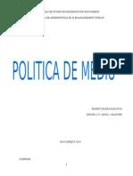 Proiect Individual - POLITICA de MEDIU - Barbu Raluca