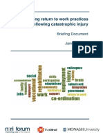 Optimising return to work practices following catastrophic injury Briefing Document