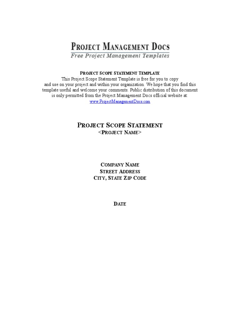 project scope statement project manager databases