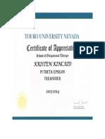pte treasurer certificate