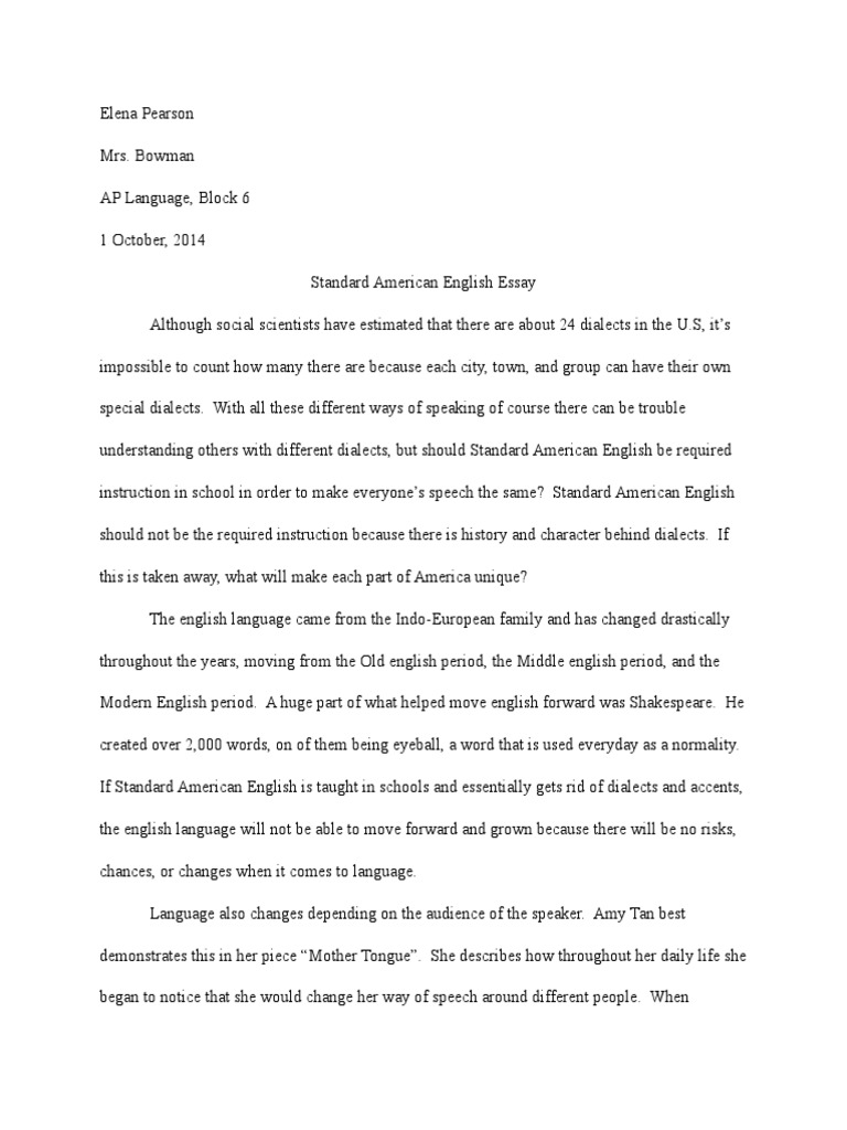 Fifth Business Essays Standard American English Essay English Language Dialect V  Standard American English Essay Family Essay In English For How To Write A Essay For High School also Thesis Generator For Essay Family Essay In English For Words To Start An Essay Covering  High School Persuasive Essay Topics