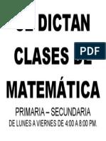 Se Dictan Clases de Matemática