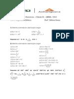 1ª Lista de Exercícios Cálculo II Derivada