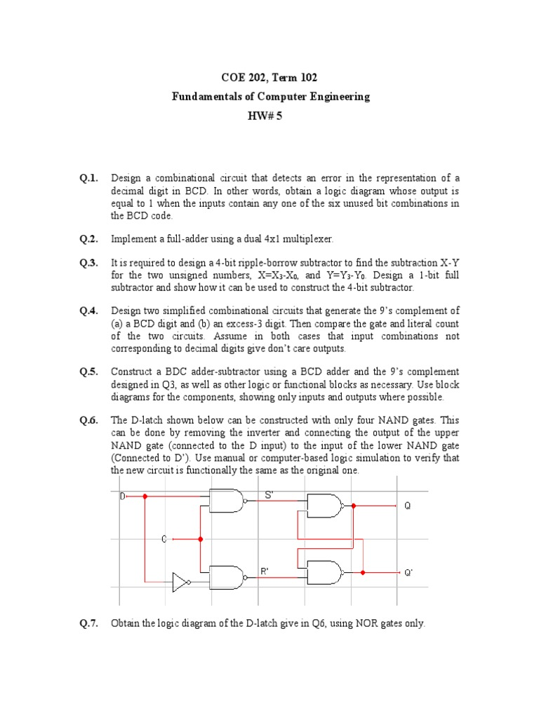 Hw5 Solutions Mat1348 Electronic Engineering Digital Electronics T Latch Circuit Diagram
