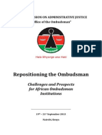 Repositioning the Ombudsman, Challenges and Prospects, Colloquim Report 2013