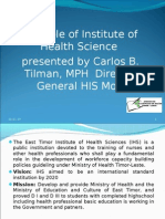 The Role of the Health Sciences Institute by Carlos Tilman
