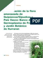 Conservacion de La Flora Amenazada de Guipuzcoa y Pais Vasco Banco de Germoplasma de Raisoro y Jardin Botanico de Iturraran
