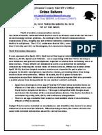 Crime Solvers Report 3/18/15 - 3/23/15