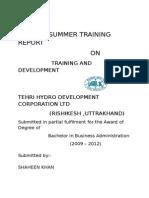 Report on training and development inTEHRI HYDRO DEVELOPMENT CORPORATION LTD  (RISHIKESH ,UTTRAKHAND)
