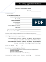 the college application worksheet