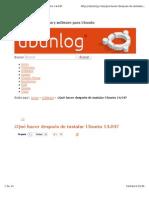 Despues de Instalar Ubuntu 1304