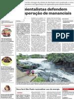 Ambientalistas defendem recuperação de mananciais