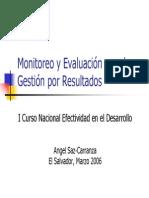 Monitoreo y Evaluación Para La Gestión Por Resultados