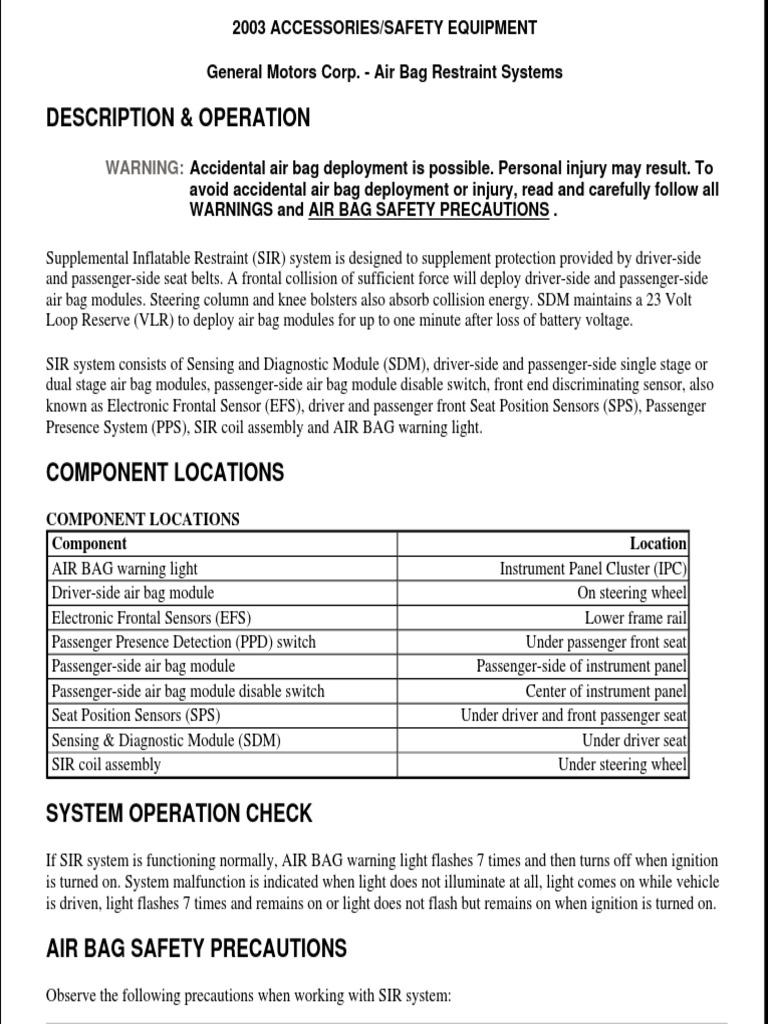 2003 Silverado Airbag Sdm Wiring Diagram | New Wiring ... on