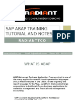 SAP ABAP Training in Bangalore (Tutorial and Notes From RadiantTCO)