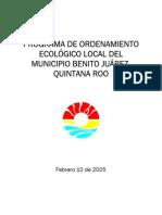 PROGRAMA DE ORDENAMIENTO ECOLÓGICO LOCAL DEL MUNICIPIO BENITO JUÁREZ, QUINTANA ROO