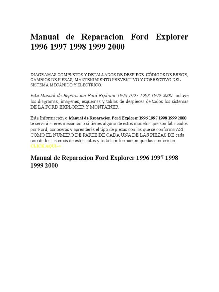 Manual de Reparacion Ford Explorer 19962000.