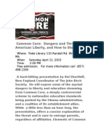 Dangers of Common Core flyer for April 11 in Wrentham, MA