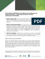 Final Africa Data Consensus