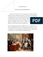19 de ABRIL de 1810 Firma Del Acta de La Independencia