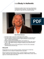 Being Branson a Study in Authentic Leadership