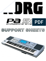 KORG PA50 User Support Sheets