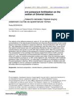774729 Effect of Long Term Potassium Fertilization on the Chemical Composition of Oriental Tobacco En