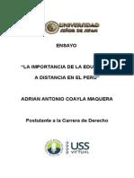Ensayo Importancia de La Educación a Distancia en El Perú