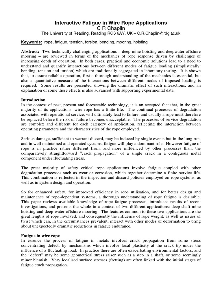 Interactive Fatigue in Wire Rope Applications | Fatigue (Material ...