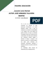 Armando Talavera_Educaciòn Como Libertad