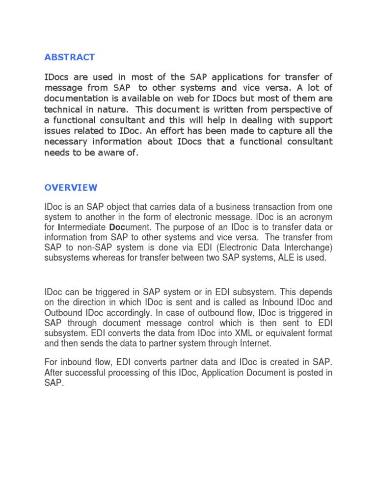 idocs desc | Electronic Data Interchange | Port (Computer