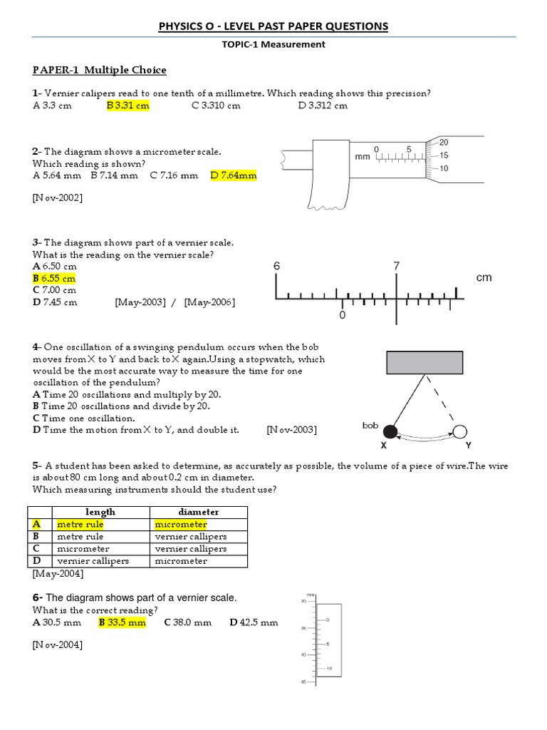o Level Worksheets PHYSICS Mass – Micrometer Worksheet