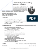 A Celebration of John Wesley in Word and Song on the Anniversary of His Birth