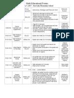 math educational forum agenda 1 5 ele