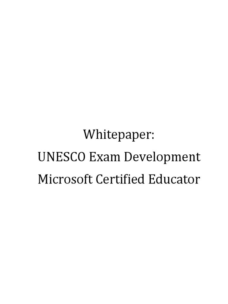 Appendix 3 Unesco Whitepaper On Microsoft Certified Educator Exam