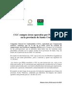 Comunicado de CGC anunciando la compra de áreas de Petrobras en Argentina