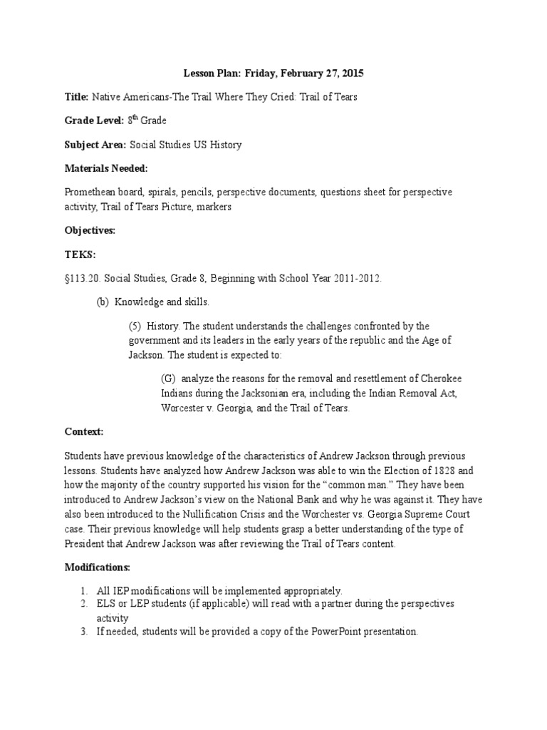 Worksheets Trail Of Tears Worksheet trail of tears lesson plan classroom