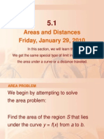 Areas and Distances Friday, January 29, 2010
