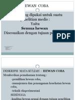 PEMILIHAN HEWAN COBA UNTUK PENELITIAN - Copy.ppt