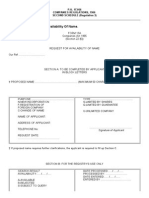 Form 13a. Request for Availability of Name. (Companies Regulations, 1966 - p.u